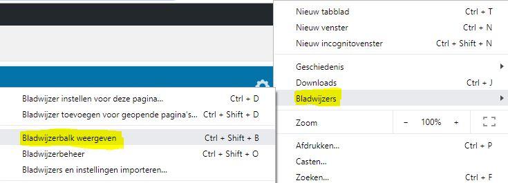 Bladwijzerbalk weergeven in Chrome