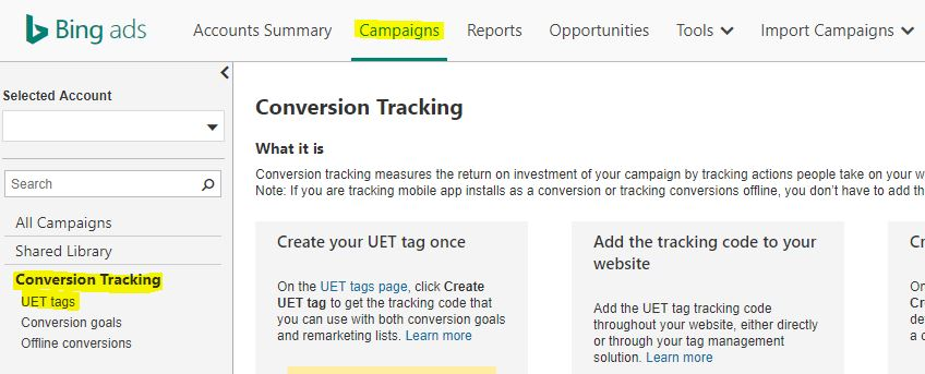 UET tag aanmaken in Bing Ads