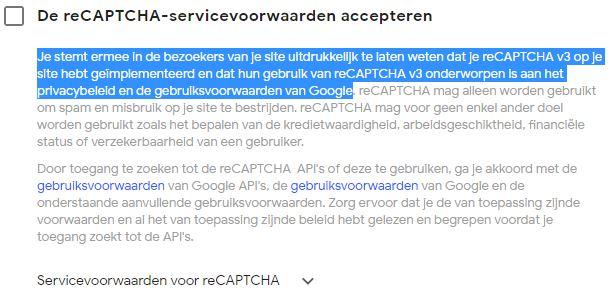 Servicevoorwaarden voor Google Recaptcha Batch