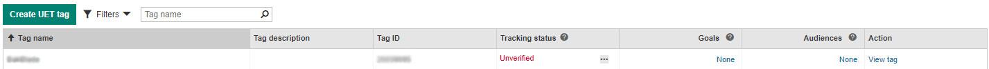 UET tag bekijken in Bing Ads